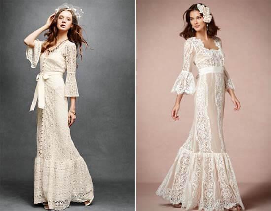кружевные платья с рукавом для невесты