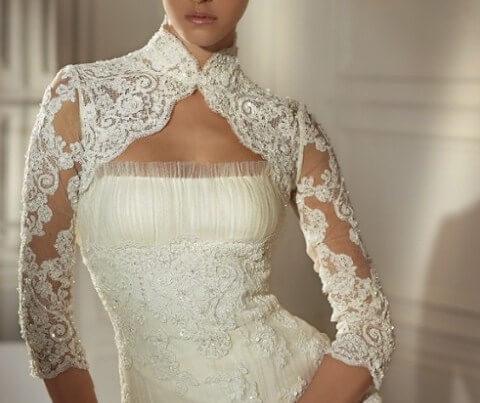 кружевное закрытое платье невесты