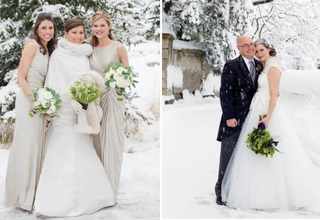 невеста в белом на свадьбе зимой