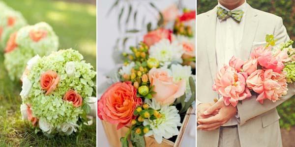 коралловые розы с зелеными цветами