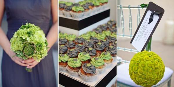 пирожные на свадьбу в серо-зеленом цвете