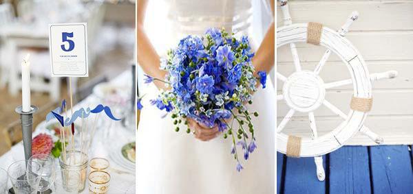 белый и синий в свадебных аксессуарах