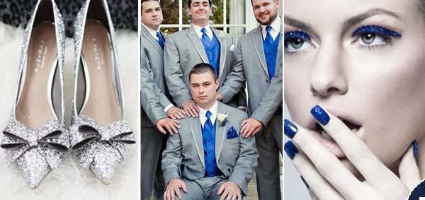 цвета синего и серого в костюмах жениха