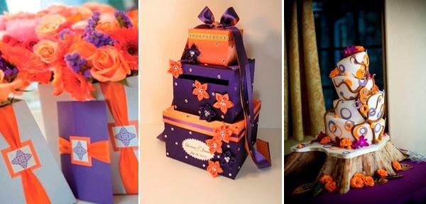 фиолетовый с оранжевым в свадебном торте