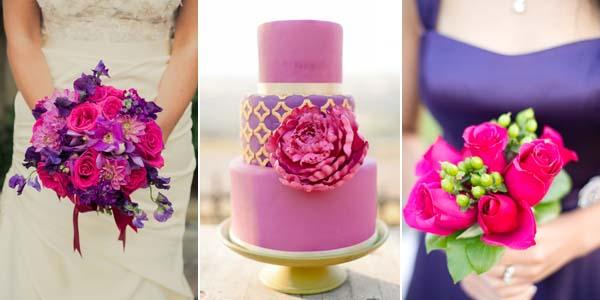 фиолетовое платье и букет цвета фуксии
