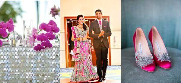 наряд невесты в серебристом и цвета фуксии цвете