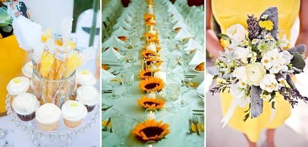 желтое платье подружки невесты и белый букет