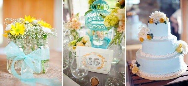 свадебный декор с желтым и голубым