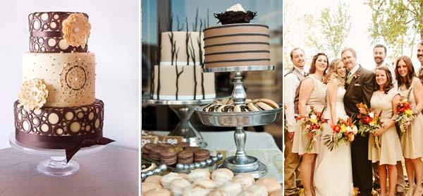 коричневый с бежевым свадебный торт