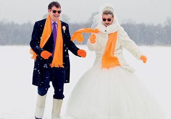 оранжевые шарфы молодожен