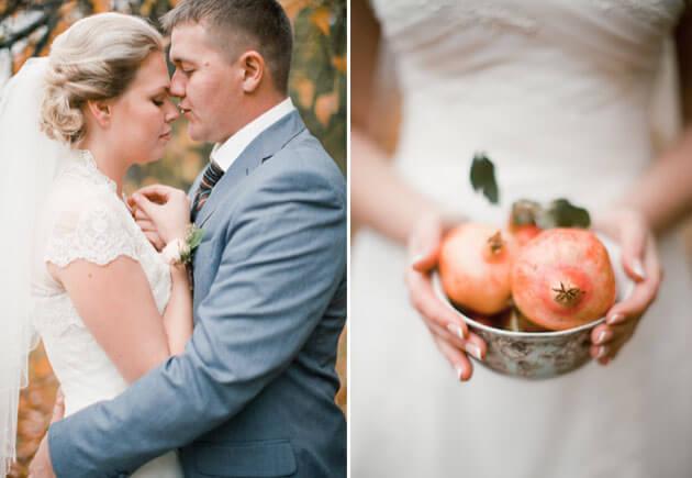 осенняя свадьба с гранатами