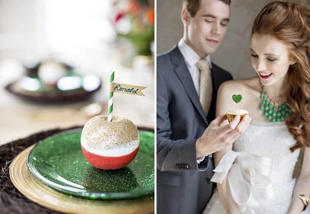 яркие датели свадьбы зеленый красный