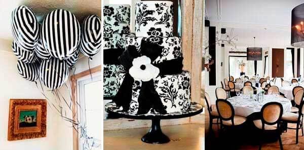 черный белый цает в декоре свадьбы