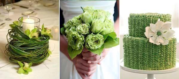 зеленый и белый на свадьбе