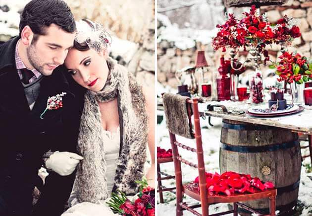 бордовые акценты зимней свадьбы