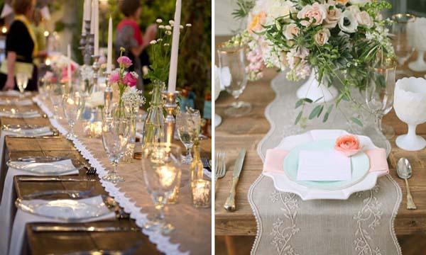 льняная скатерть на свадебном столе