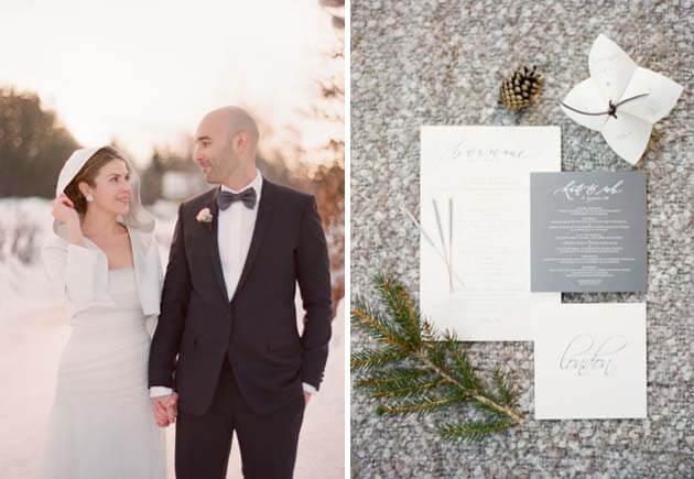свадьба зимой во Франции -молодожены
