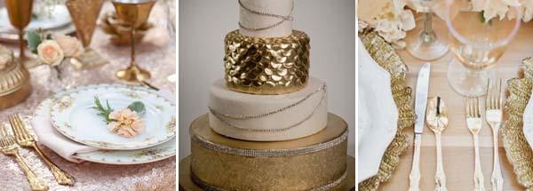 золотой и бедевый оттенки свадьбы