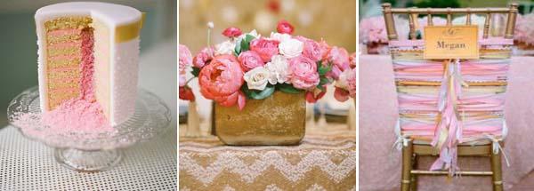 розовый и золотой на свадьбе