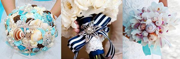 Букет невесты из ракушек в морском стиле