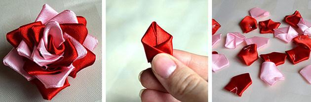 Делаем двухцветную розу из атласных лент своими руками