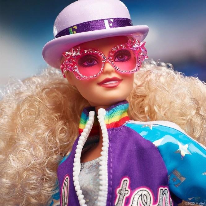 Barbie Elton John: detalhe do rosto