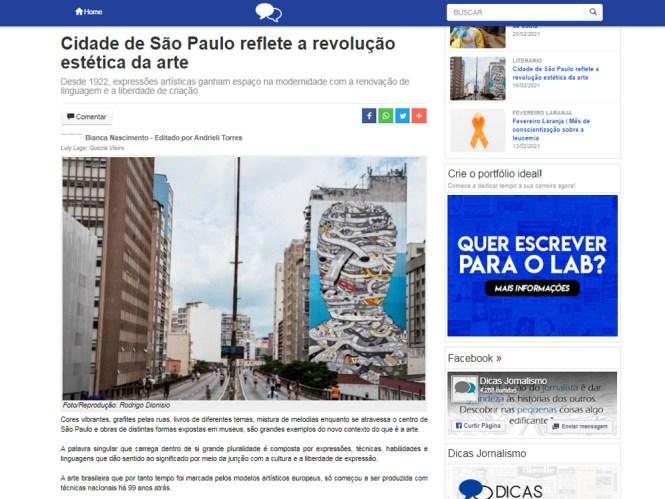 Cidade de São Paulo reflete a revolução estética da arte, publicado na Lab Dicas Jornalismo em 18 de fevereiro de 2021.