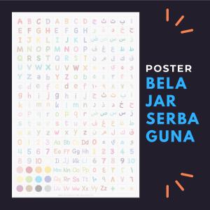 poster belajar anak serbaguna hijaiyah huruf latin angka