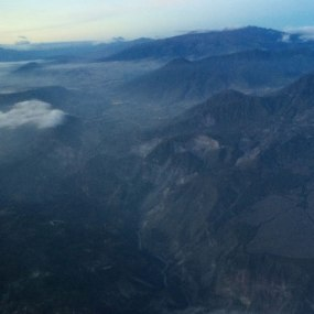 The view of the Andes mountains while flying out of Quito.