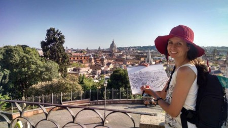 Brooke on one of her many sketching excursions.