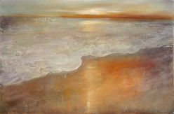 """Sunset"" 40x60 inch acrylic, sand, resin on panel"