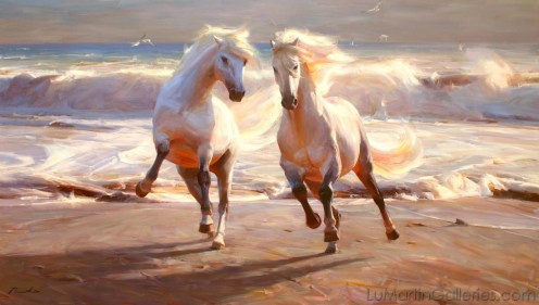 """""""Together"""" 40x70 in. oil/canvas by Ruo Li (SOLD)"""