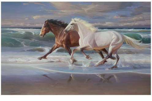 """Seaside Sprint"" 40x64 in. oil/canvas"