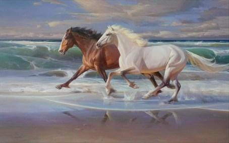 """Seaside Sprint"" 40x64 inch oil on canvas"