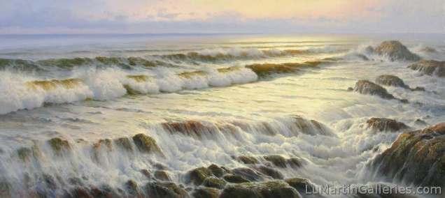"""Moss Rocks"" 18x40 inch oil on canvas"