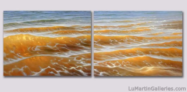 """Las Aguas Tranquilas"" 18x48 inch diptych, oil on two canvases"