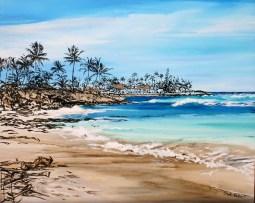 """Wailua Tides"" 48x50 inch ink, acrylic, oil on canvas"