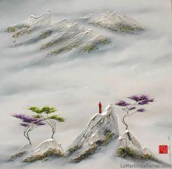 """Higher Than Your Dreams"" 40x40 inch ink, acrylic, oil, Swarovski on canvas"