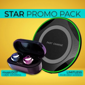 Pachet promotional casti bluetooth si incarcator wireless