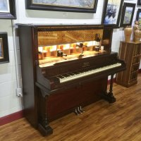 *SOLD* 1913 Arion Upright Piano Bar Wine & Liquor Cabinet