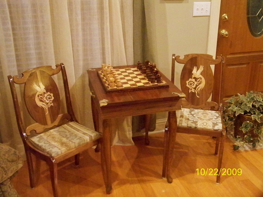 Walnut Chess Table and Chairs