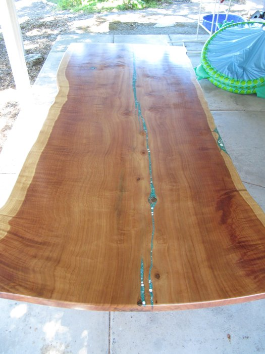 10 X 4 Redwood Slab Table With Malachite And Shell Inlay