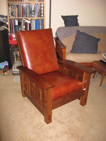 Walnut Morris Chair with leather cushions  by John