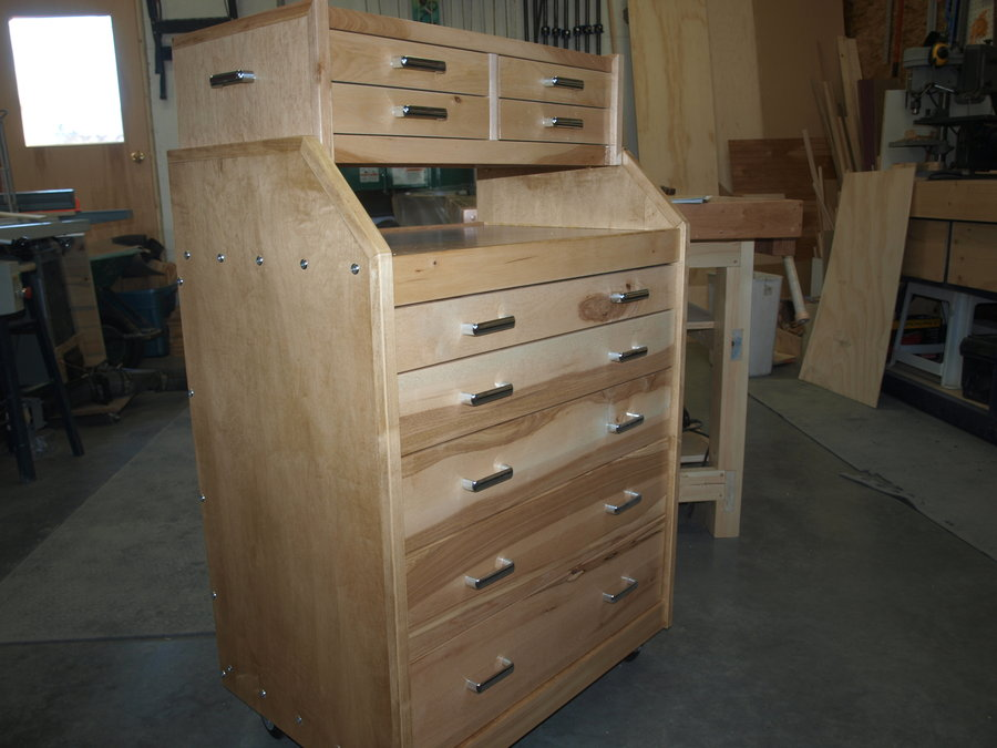Slant Front Rolling Tool Cabinet With Removable Chest