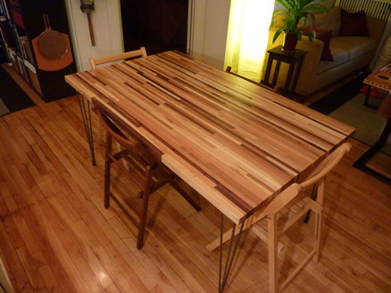 Multi Scrap Wood Butcher Block Dining Table  by