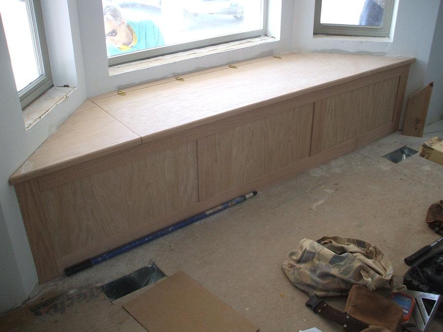 Oak bay window seat/storage