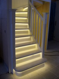 LED light strips under stairs, soft glow