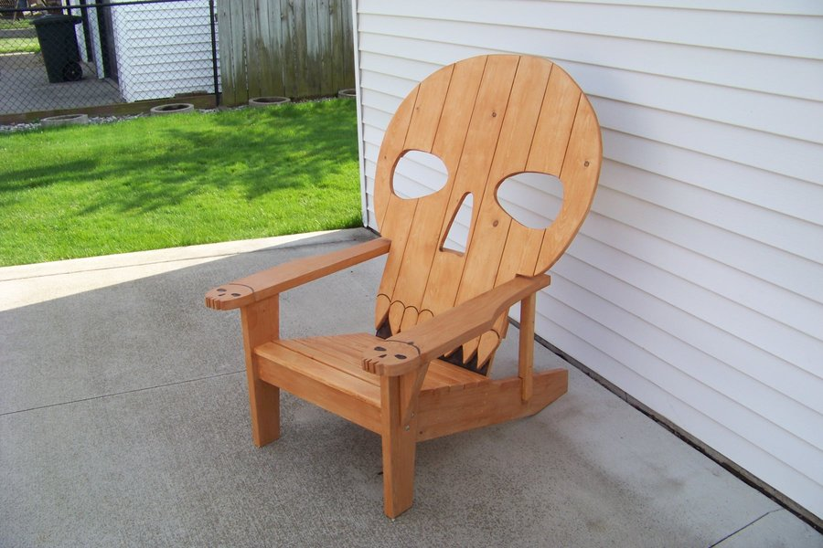 wooden skull chair black dining sets with 6 chairs adirondack plans easy small woodworking projects