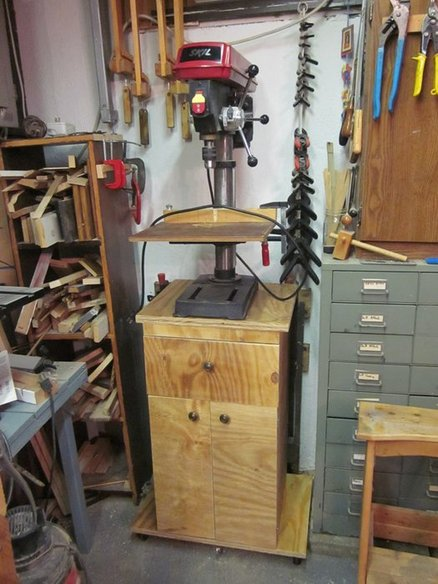 Rolling Drill Press Cabinet from one Sheet of Plywood  by