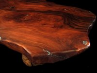 Custom Wood Coffee Table, Burl Pine Pedestal w/Turquoise ...